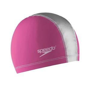 Pink and silver speedo swim cap
